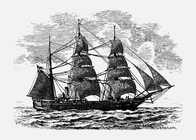 Vintage ship illustration Free Vector