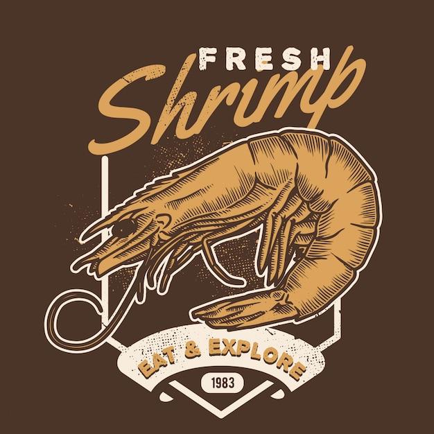 Vintage shrimp handdraw style seafood Premium Vector