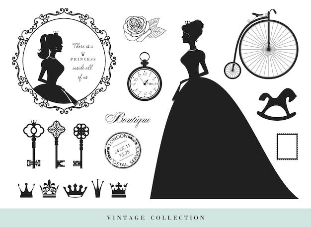 Vintage silhouettes set. Premium Vector