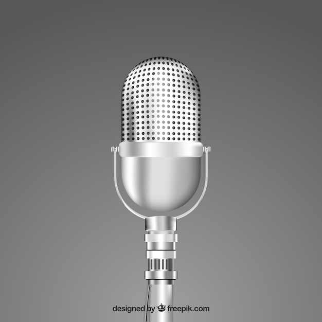 Vintage silver microphone Free Vector