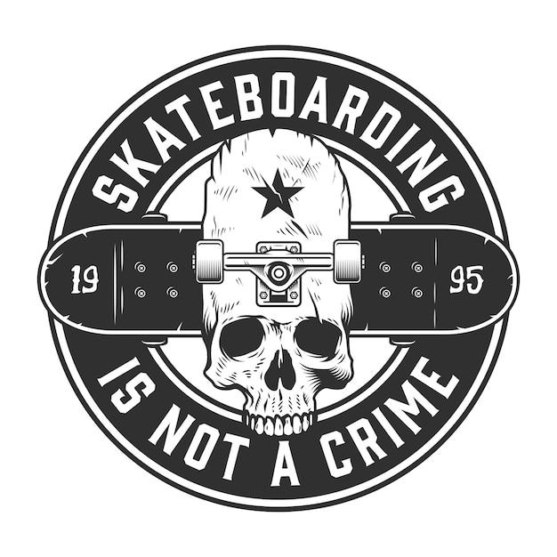 Etichetta monocromatica skateboard vintage Vettore gratuito