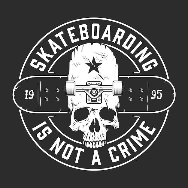 Vintage skateboarding monochrome round emblem Free Vector