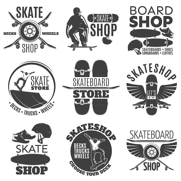 Set di emblemi negozio di skateboard vintage Vettore gratuito