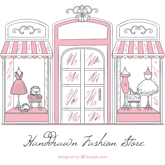 ファッション店のヴィンテージスケッチショーウィンドウ 無料ベクター