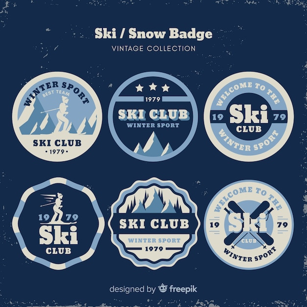 Vintage ski and snow badge collection Free Vector