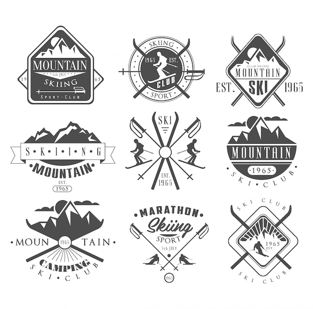Vintage skiing labels and design elements set Premium Vector