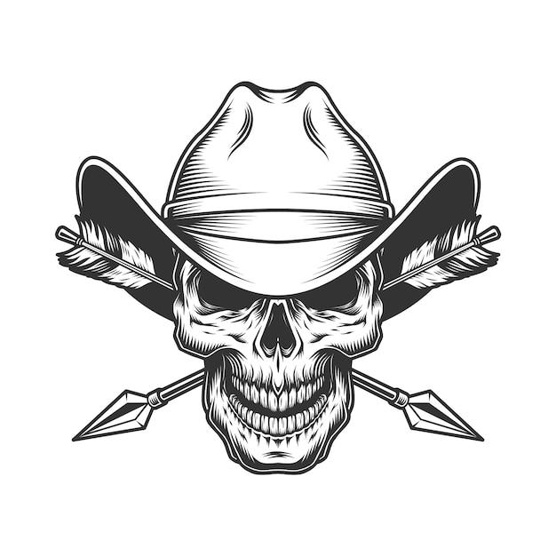Vintage skull in cowboy hat Free Vector