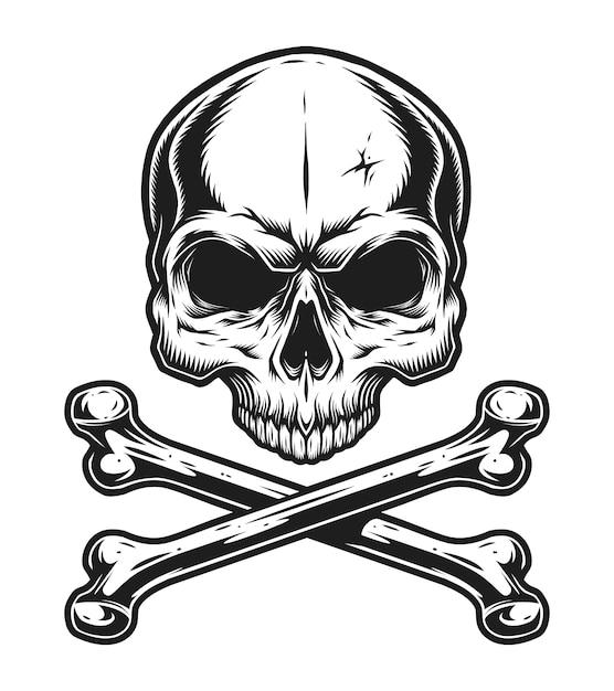 Vintage skull and crossbones monochrome template Free Vector