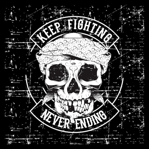 Vintage skull and fists slogan with motivation. Premium Vector