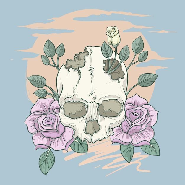 Vintage skull flower classic illustration Premium Vector
