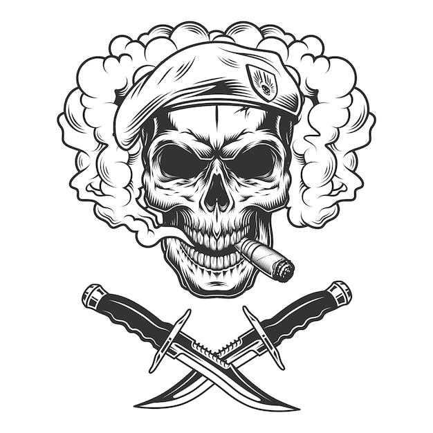 Vintage skull in navy seal beret Free Vector