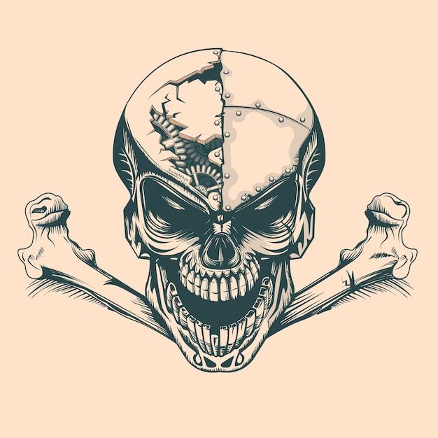 Vintage skull with mechanisms in mind Premium Vector