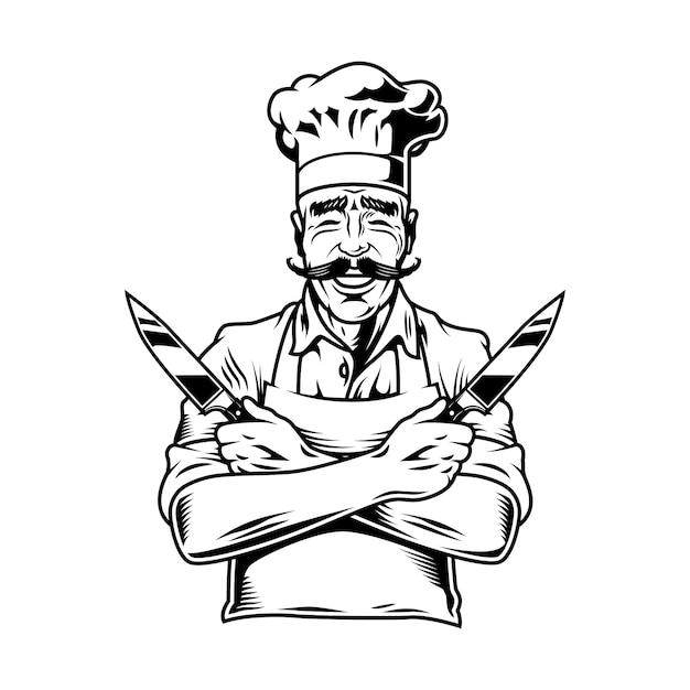 ナイフを保持しているヴィンテージの笑みを浮かべてシェフ Premiumベクター