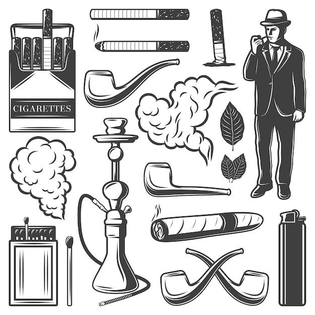 Collezione di elementi fumatori vintage Vettore gratuito