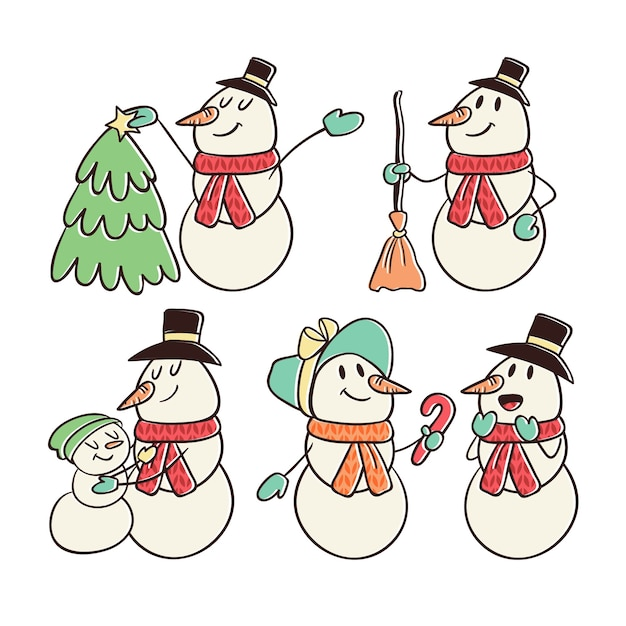 Vintage snowman character collection Free Vector