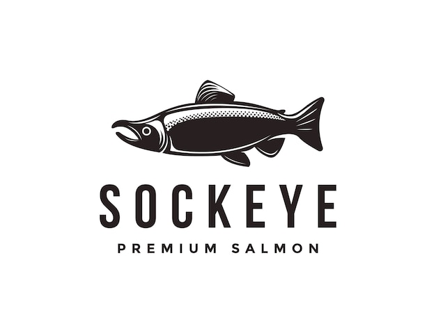 Vintage sockeye salmon fish logo icon template Premium Vector