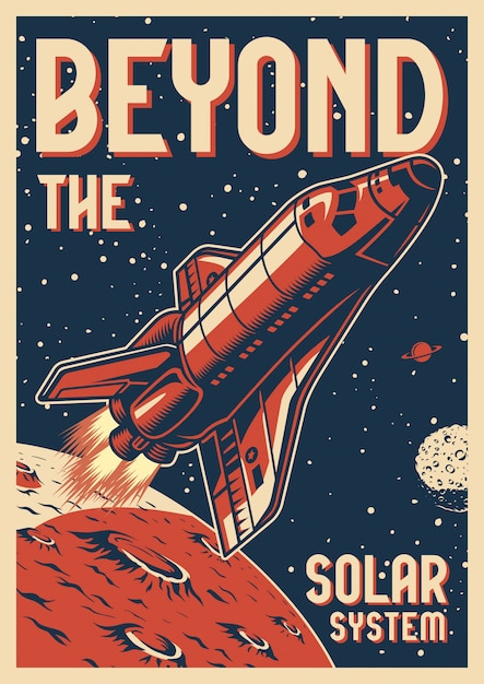 Vintage space colorful poster Premium Vector
