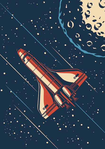 Vintage space discovery poster Premium Vector