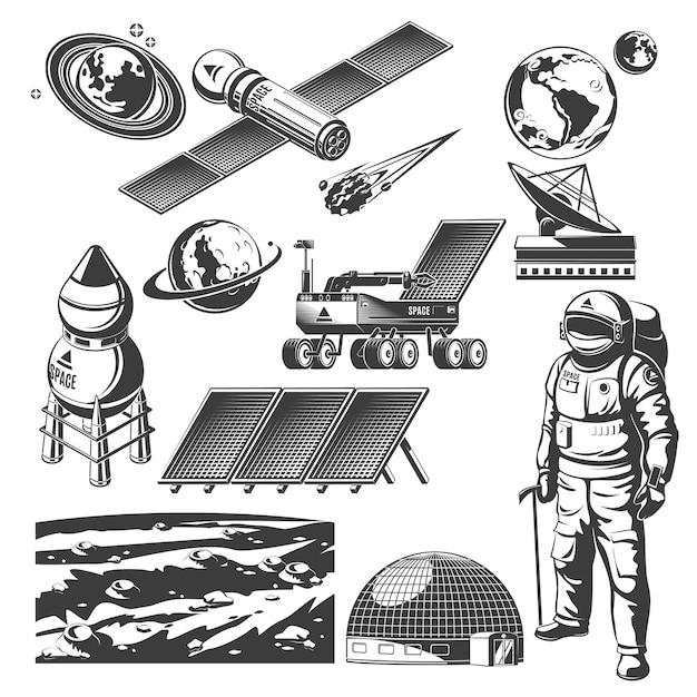 Коллекция старинных космических элементов Бесплатные векторы
