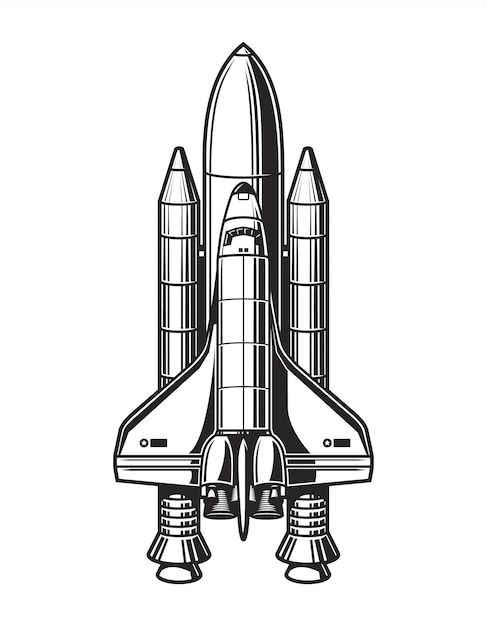 Vintage space ship concept Free Vector