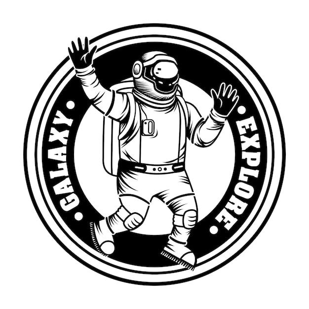 Spaceman dell'annata che esplora l'illustrazione di vettore della galassia. astronauta monocromatico in tuta spaziale e casco Vettore gratuito