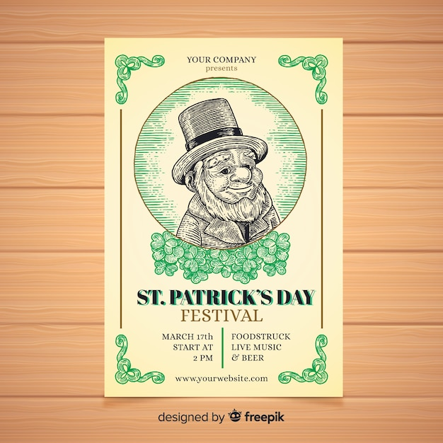 Vintage spirit st patrick's party poster Free Vector