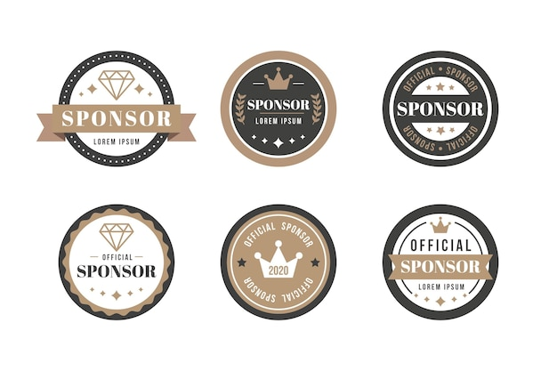 Vintage sponsor label collection Premium Vector