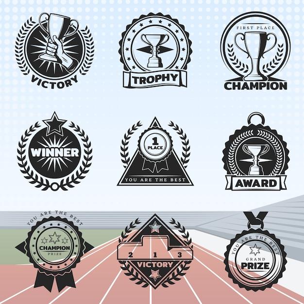 Vintage sport awards set Free Vector