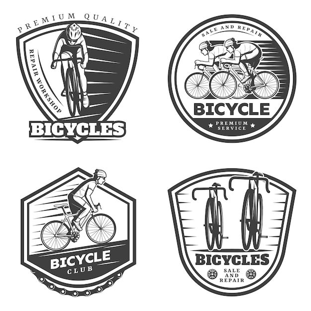Vintage sport cycling emblems set Free Vector