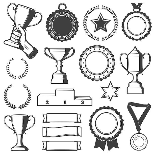 ビンテージスポーツ報酬要素コレクション 無料ベクター