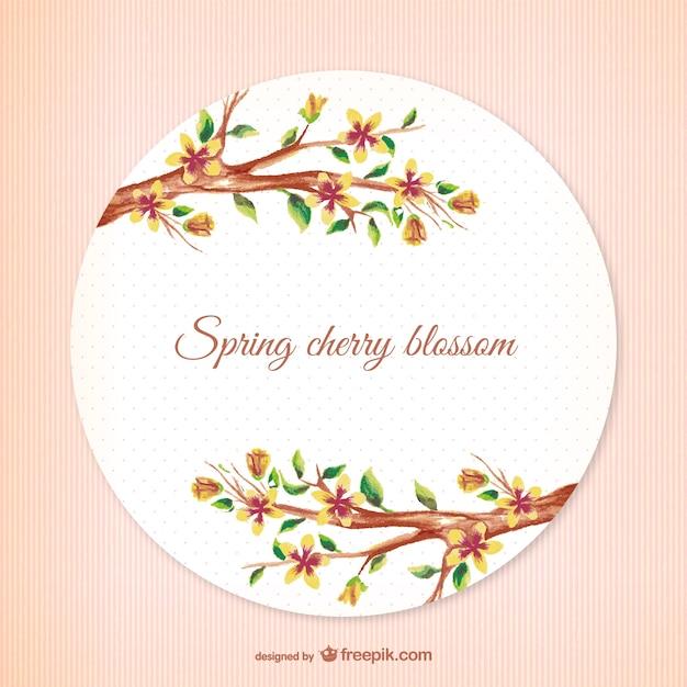 Vintage spring cherry blossom vector Free Vector