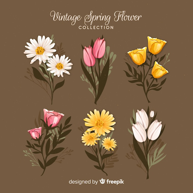 Vintage spring floral collection Free Vector