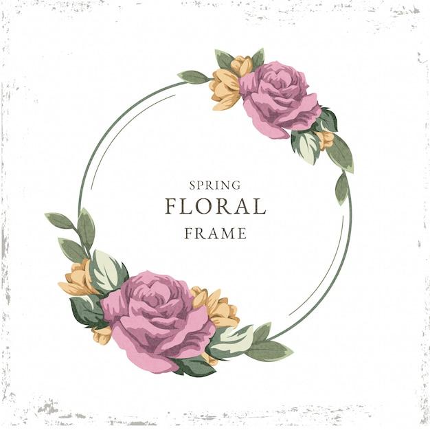 Vintage spring floral frame theme Free Vector