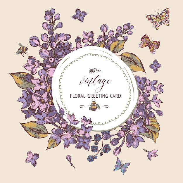 ライラックの花が咲くとビンテージ春グリーティングカード Premiumベクター