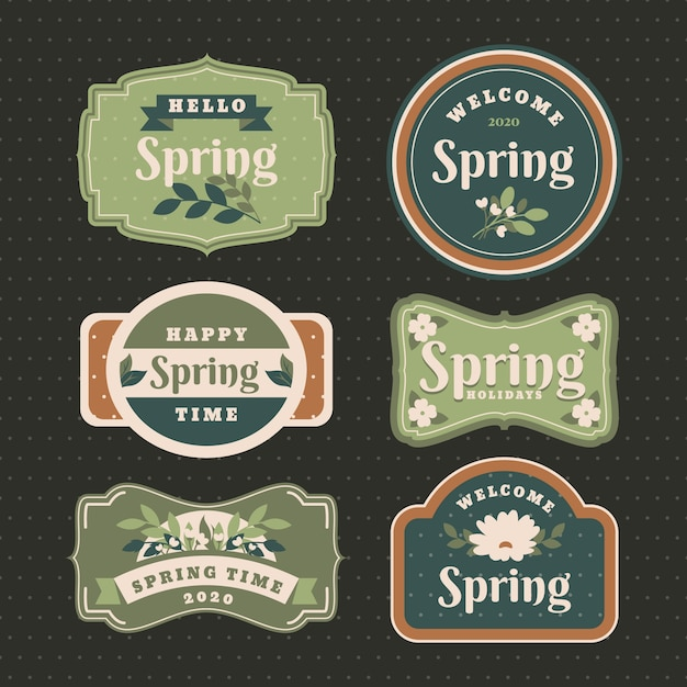 Vintage spring label collection Free Vector
