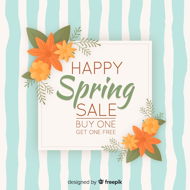 Vintage spring sale background Free Vector