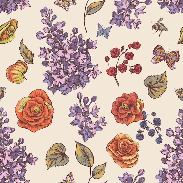 ベゴニア、ライラックの花が咲くとビンテージ春シームレスパターン Premiumベクター