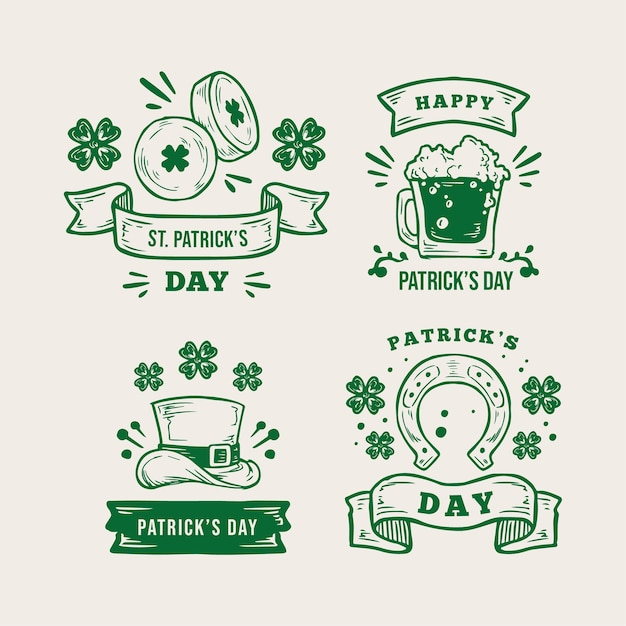 Vintage st. patrick's day label collection Free Vector