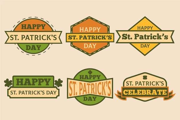 Vintage st. patricks day badge collection Free Vector