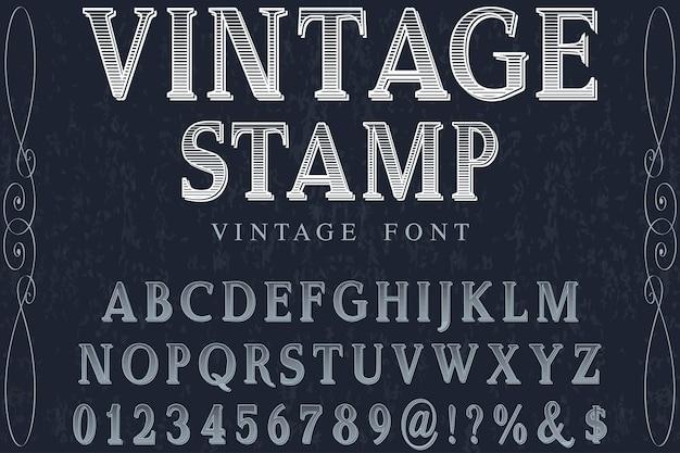 Vintage stamp font handcrafted Premium Vector
