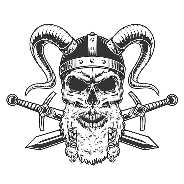 Cranio di vichingo barbuto severo vintage Vettore gratuito