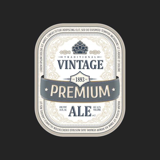 Vintage sticker beer bottle Premium Vector