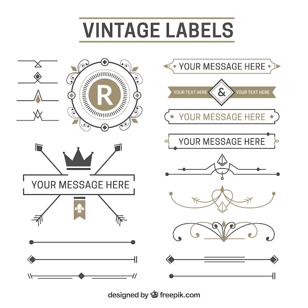 Vintage sticker collection Free Vector