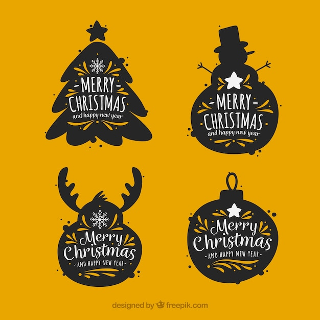 Vintage stickers set of christmas elements silhouettes  Free Vector