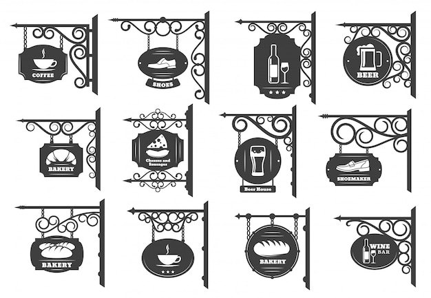 Vintage street signboards and shop sign boards Premium Vector
