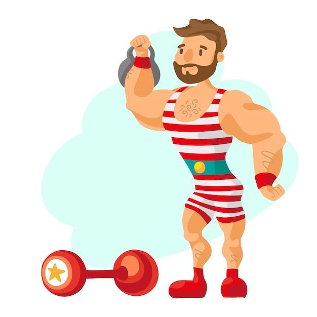 Vintage strongman. ancient athlete. retro bodybuilder barbell. strong power circus actor. Free Vector