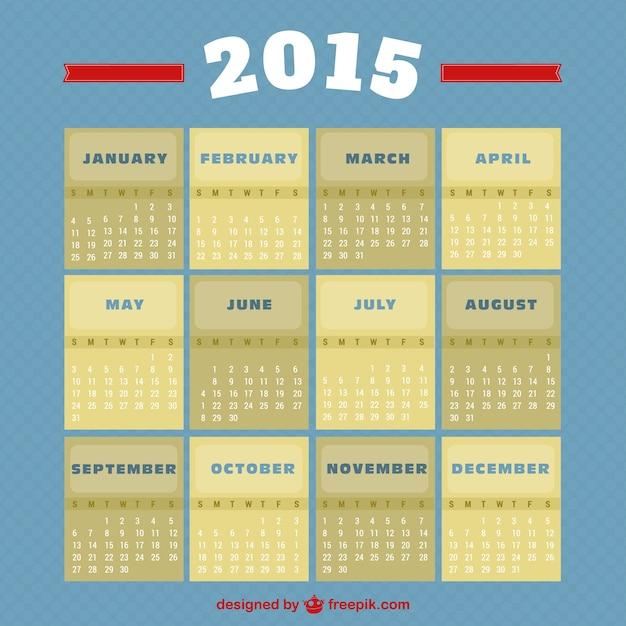Calendar Vintage 2015 : Vintage style calendar vector free download