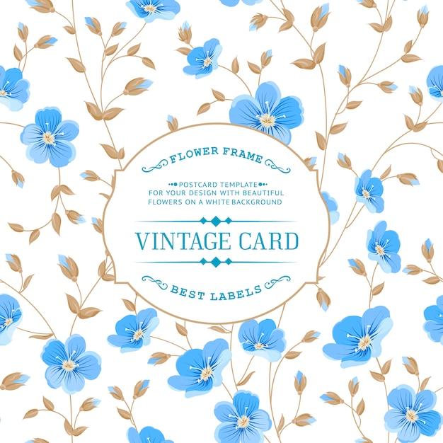 vintage style blue floral background vector premium download