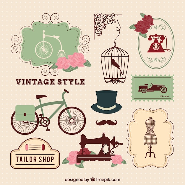 Vintage style elements Free Vector