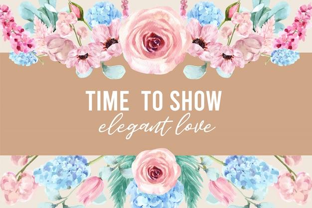 Рамка винтажного стиля флористическая очаровательная с картиной акварели иллюстрации цветка. Бесплатные векторы